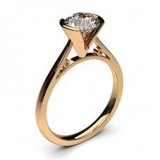 Bague de fiançailles fine solitaire diamant rond serti demi-clos - CLRN28_02