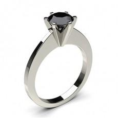 6 Prong Setting Thin Engagement Black Diamond Ring - CLRN30_05
