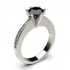 6 Prong Setting Medium Side Stone Engagement Black Diamond Ring - CLRN30_06