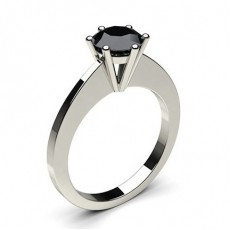 6 Prong Setting Thin Engagement Black Diamond Ring - CLRN31_05