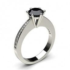 6 Prong Setting Medium Side Stone Engagement Black Diamond Ring - CLRN31_06