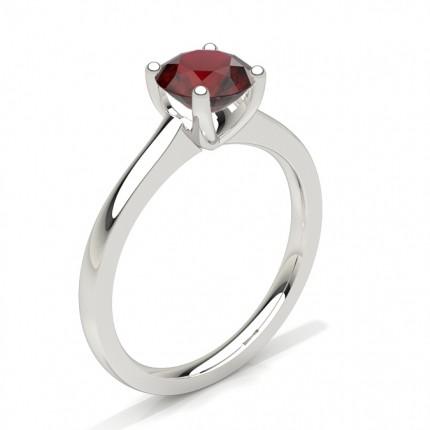 Buy White Gold Round Ruby Engagement Ring Online Uk Diamonds Factory