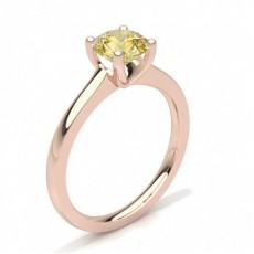 Rond Or Rose Bagues de fiançailles en diamant jaune