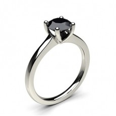 4 Prong Setting Thin Engagement Black Diamond Ring (Available from 0.50ct. to 2.00ct.)