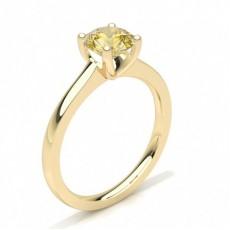 Rond Or Jaune Bagues de fiançailles en diamant jaune