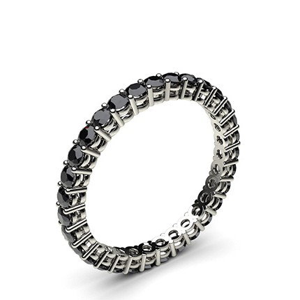 4 Prong Setting Full Eternity Black Diamond Ring
