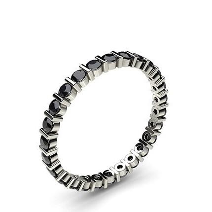 Bar Setting Full Eternity Black Diamond Ring