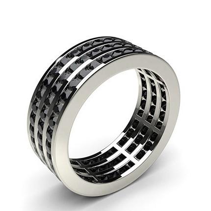 Eternity Schwarze Diamant Ring in einer Kanalfassung