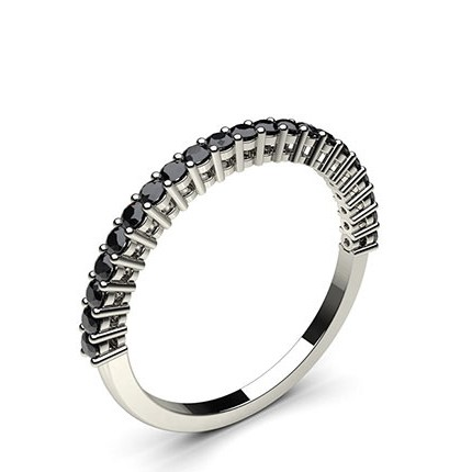 Buy 4 Prong Setting Half Eternity Black Diamond Ring line UK