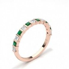 Princess Rose Gold Diamond Half Eternity Rings