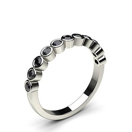 Halb Eternity Schwarze Diamant Ring in einer Zargenfassung