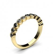 Round Yellow Gold Black Diamond Rings