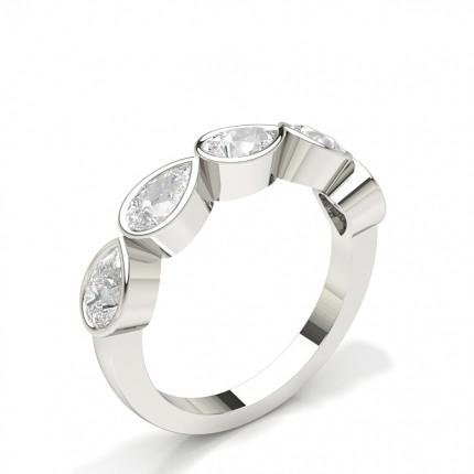 Full Bezel Setting With Miligrain Half Eternity Diamond Ring