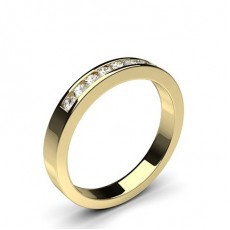 Channel Setting Half Eternity Diamond Ring in 9K Yellow Gold