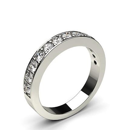 Alliance demi-tour diamant rond semi-sertie pavé