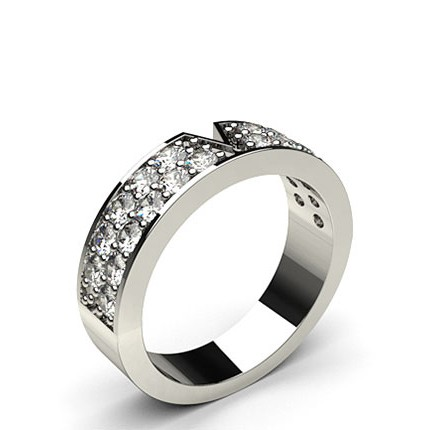 450mm Pave Setting Double Row Diamond Shaped Band