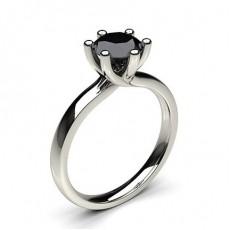 6 Prong Setting Plain Engagement Black Diamond Ring - CLRN59_03