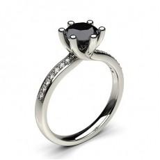 6 Prong Setting Studded Side Stone Engagement Black Diamond Ring - CLRN59_04