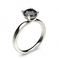 4 Prong Setting Plain Engagement Black Diamond Ring (Available from 0.50ct. to 2.00ct.)