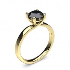 Yellow Gold Black Diamond Engagement Rings