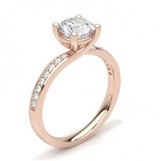 4 Prong Setting Studded Side Stone Engagement Ring - CLRN60_01
