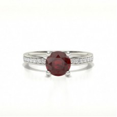 Round Ruby Diamond Rings