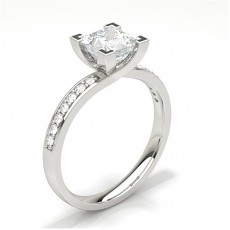 White Gold Round Side Stone Diamond Engagement Ring - CLRN60_01