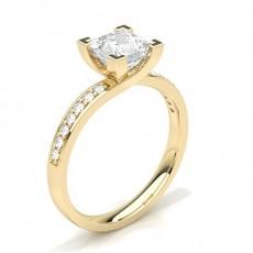 White Gold Round Side Stone Diamond Engagement Ring - CLRN60_01