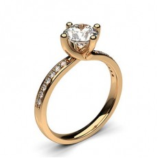 4 Prong Setting Studded Side Stone Engagement Ring - HG0547_1