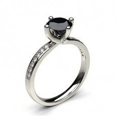 4 Prong Setting Studded Side Stone Engagement Black Diamond Ring - CLRN62_05