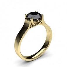 4 Prong Setting Plain Engagement Black Diamond Ring - HG0644_49