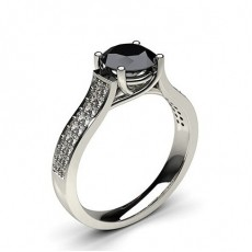 4 Prong Setting Studded Side Stone Engagement Black Diamond Ring - CLRN63_06
