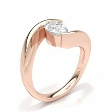 Pear Rose Gold Solitaire Diamond Rings