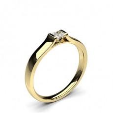 Princess Yellow Gold Promise Diamond Rings