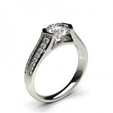 Channel Setting Studded Side Stone Engagement Ring - CLRN68_01