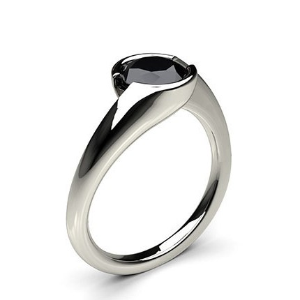 semi bezel setting plain engagement black diamond ring - Black Diamond Wedding Rings For Him