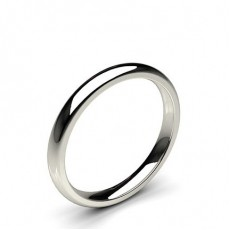 Low Dome Comfort Fit Classic Plain Wedding Band in Platinum