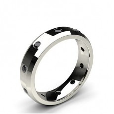 Round White Gold Black Diamond Rings