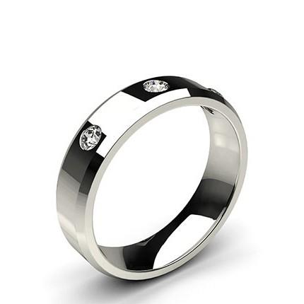Studded Beveled Profile Comfort Fit Diamond Wedding Band