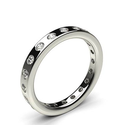 Studded Flat Profile Comfort Fit Diamond Wedding Band