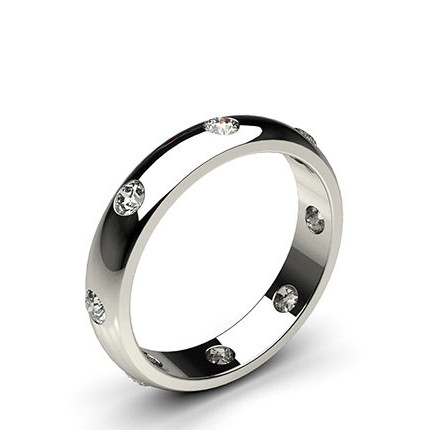 4.00mm Studded Low  Dome Standard Fit Diamond Wedding Band