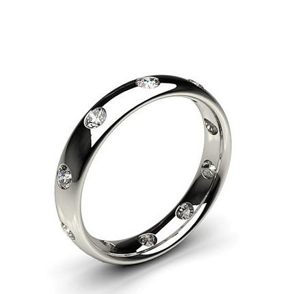 Studded Court Profile Comfort Fit Diamond Wedding Band