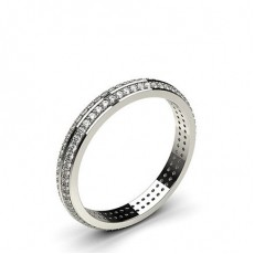 Studded Knife Edge Flat Profile Fit Diamond Wedding Band - CLRN126_04