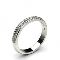 Studded Knife Edge Standard Fit Diamond Wedding Band