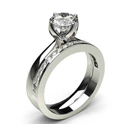 bague de fian aille solitaire diamant rond serti 4 griffes avec alliance accord e diamonds factory. Black Bedroom Furniture Sets. Home Design Ideas