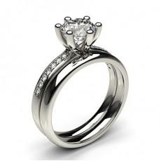 White Gold Bridal Set Diamond Engagement Ring - CLRN216_02
