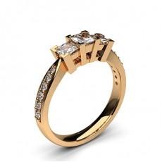Princess Rose Gold Trilogy Diamond Rings