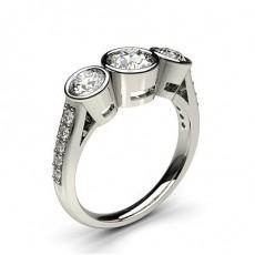 Full Bezel Setting Studded Three stone Ring - CLRN240_03