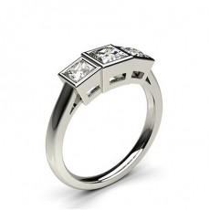 White Gold Three Stone Diamond Rings