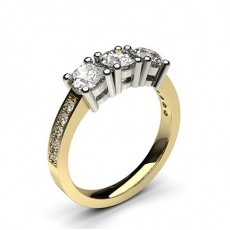 4 Prong Setting Studded Three stone Ring - CLRN242_02